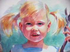 Little Girl on Swing - Custom Watercolor Portrait of your Child Based on your favorite photo...by Krystyna81, $500.00