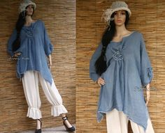 Hand Dyed Blue Linen Gauze Tunic with Rose Lagenlook Plus size Blouse OOAK by BohemianAngels on Etsy https://www.etsy.com/listing/175438981/hand-dyed-blue-linen-gauze-tunic-with