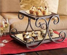 2 Tier Iron Cake Stand, 3 Color, Cake Holder, Food display/ Desserts stand/ Fruit Stand/ Cake display, Kitchen Accessory $94.00