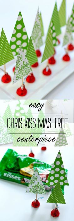 Christmas Crafts with Kids Easy Holiday Centerpiece Idea - Great Kid Craft Idea Christmas Party Favors, Christmas Crafts For Kids, Simple Christmas, Christmas Projects, Winter Christmas, Holiday Crafts, Holiday Fun, Work Christmas Party Ideas, Christmas Trees