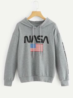 Shop American Flag & Letter Hooded Sweatshirt at ROMWE, discover more fashion styles online. Sweat Shirt, Printed Sweatshirts, Hooded Sweatshirts, Designer Party Dresses, Pullover, Cool Names, Pulls, American Flag, Casual