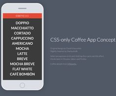 CSS-only Coffee App Concept, #Animation, #App, #Code, #Coffee, #Concept, #CSS, #CSS3, #HTML, #HTML5, #Mobile, #Resource, #SCSS, #Snippets, #Transition, #Web #Design, #Development