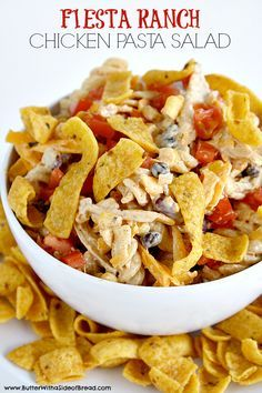 Fiesta Ranch Chicken Pasta Salad is full of fresh southwestern flavors with black beans, corn, cheese and tomatoes. This hearty chicken pasta salad recipe topped with Fritos is perfect as a main dish or a side dish for potlucks and parties! Pasta Dishes, Food Dishes, Side Dishes, Food Food, Chicken Pasta Salad Recipes, Chicken Salad, Pasta Food, Recipe Chicken, Mexican Food Recipes