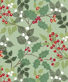 vintage wrapping paper | Christmas Vintage-Wrapping Paper & Backgrounds / Holly and Berries ...