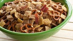 Crunchy bacon baked in with two kinds of Chex™ cereal and some other tasty ingredients. The perfect snacking snack! Chex Mix Recipes, Snack Recipes, Bacon Recipes, Easy Recipes, The Ranch, Yummy Snacks, Just In Case, Appetizers