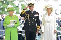 Queen Elizabeth, Prince of Wales, and Duchess of Cornwall at the Commonwealth War Graves Cemetery at Bayeux, Normandy, during the 70th Anniversary Commemoration of D-Day, June 6, 2014.