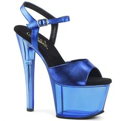Hot For Heels And More - Pleaser Blue Metalic PU And Blue Tinted - Tinted platform ankle strap sandal. High Heels Boots, Platform High Heels, High Heels Stilettos, Thigh High Boots, Hot Heels, Women's Shoes, Stiletto Shoes, Blue Shoes, Pole Dance