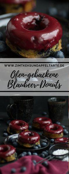 Wundervolle fettarme Blaubeer-Donuts mit Blaubeer-Glasur - einfaches Rezept für Ofen-gebackene Donuts