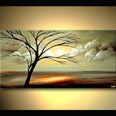 landscape painting of naked tree and beautiful sunrise