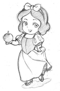 Chibi version of Disney's Snow White. I couldn't make the chibi versions of the dwarves.sorry for the bad joke Random Chibi 10 Disney Drawings Sketches, Easy Disney Drawings, Disney Character Drawings, Art Drawings Sketches Simple, Girl Drawing Sketches, Disney Princess Drawings, Easy Cartoon Drawings, Girly Drawings, Drawing Disney
