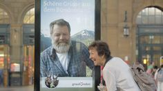 The Great Escape | To promote tourism, the rural Swiss region of Graubünden got an affable gray-bearded man to yell in real time from a digital screen to passersby in Zurich's main train station - trying to lure them with sweet yodeling and a free ticket to an impromptu vacation in a pastoral mountain town.