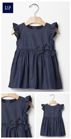 1969 flutter bow chambray dress Baby Girl Fashion, Toddler Fashion, Kids Fashion, Little Girl Outfits, Cute Outfits For Kids, Toddler Dress, Toddler Outfits, Baby Girl Dresses, Baby Dress