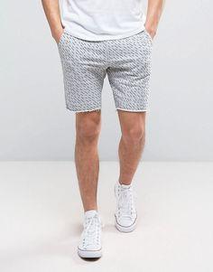 Blend Line Print Sweat Short - Gray