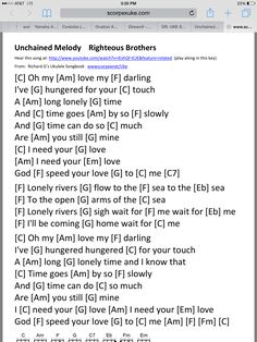 Unchained melody uke chords