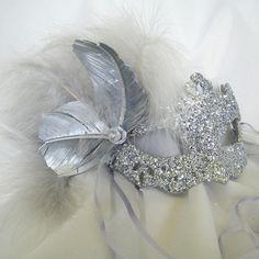Silver Masquerade mask, etsy