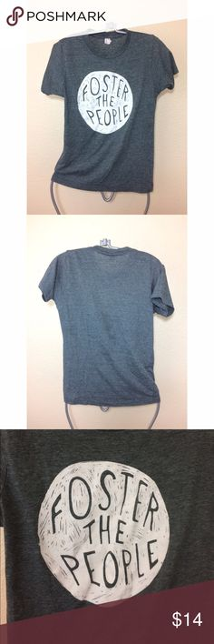 Foster the People band tshirt Gray tshirt with foster the people on the front of the shirt. True size xsmall - preshrunk so this shirt hasn't shrunk on me yet! Tops Tees - Short Sleeve