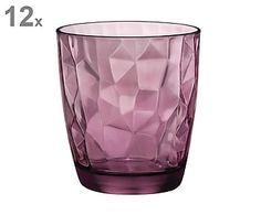 Set van 12 drinkglazen Diamond, paars, H 10,5 cm