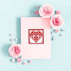 Forgot the card? No worries - grab these pretty hearts and cross-stitch one in minutes! Stick it nicely to a postcard and you're good to go. Cross Stitch Heart, Modern Cross Stitch, Heart Patterns, Cross Stitch Patterns, Valentines Day Hearts, Cross Stitching, Frame, Pretty, Cards