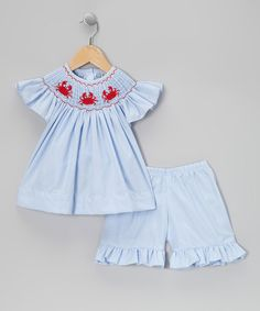 Take a look at this Blue Gingham Crabs Smocked Top & Pants - Infant, Toddler & Girls by Sweet La Tea Da on #zulily today!