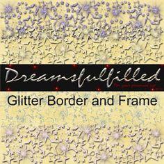 Dreamsfulfilled: Glitter Border and Frame for Play Ball. Colección de marcos y bordes con brillantinas en forma de estrella.
