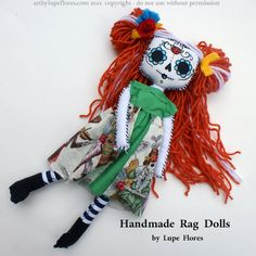 Matilda Sugar Skull Stitched Souls Handmade Rag Doll by Lupe Flores www.artbylupeflores.com $45.00