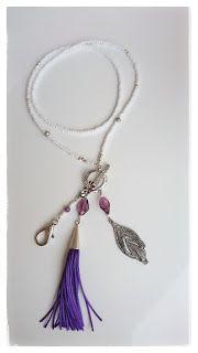 Heidin korutaiteilut: Valkoinen avainkaulakoru liiloilla koristeluilla 1... Diy Jewellery, Jewelry, Wire Wrapping, Personalized Items, Jewlery, Jewerly, Schmuck, Jewels, Jewelery