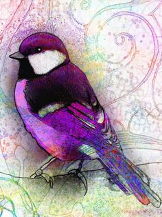 digital collage... combining an original acrylic (bird) with digitally painted (background)