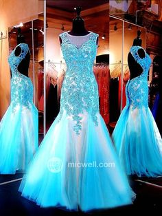 Trumpet / Mermaid Lace Tulle Prom Dresses / Evening Dresses (SZ0326723) - MicWell.com