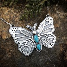 Sterling silver and turquoise butterfly pendant! by lisajdesigns on Etsy https://www.etsy.com/listing/498243042/sterling-silver-and-turquoise-butterfly