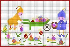 pâques - easter - oeuf - enfant - point de croix - cross stitch - Blog : http://broderiemimie44.canalblog.com/