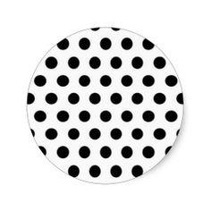 Black polka Dots On White Background Round Sticker