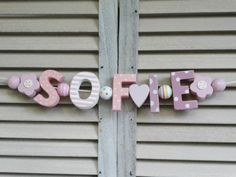 SOFIE WOODEN NAME SIGN WALL LETTERS DOOR DECORATION BABY SHOWER NURSERY SHABBY