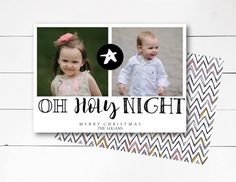 Oh Holy Night Christmas Card, Nativity Christmas Photo Card, Holiday Photo Card, Scripture Christmas Card, Biblical Card DIY or Printed by NOLALOULOU on Etsy