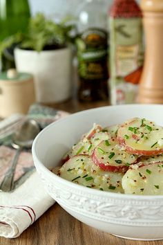 French Potato Salad with Mustard and Fines Herbes is a simple take on an old classic and the perfect summer entry for your next barbecue! French Potato Salad, French Potatoes, Potato Salad Mustard, Potato Dishes, Potato Recipes, Food Dishes, Side Dishes, Main Dishes, Picnic Foods