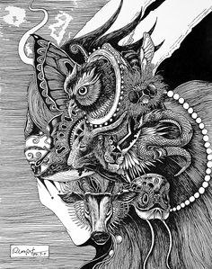 Rlon Wang is an illustrator designer from Shenzhen, China. Impetuous World Life embeds four different highly detailed illustrations of animals and nature compositions, all in an unique Japanese style. Chalk Drawings, Art Drawings, Scratchboard, Art N Craft, Amazing Drawings, Coloring Books, Creepy, Cool Art, Graffiti