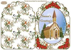 A Winter Scene Christmas Card on Craftsuprint designed by Sandra Carlse - A lovely christmas winter scene card. A quick card, just cut