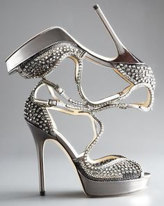 Jimmy Choo Fairview Crystal-mesh Platform Sandal in Gray (anthracite) Crazy Shoes, Me Too Shoes, Shoe Boots, Shoes Heels, High Heels, Jimmy Choo Shoes, Silver Shoes, Fashion Heels, Women's Fashion