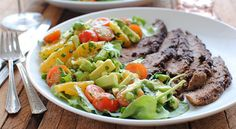 Can't wait to try it with my own flank steak! http://taste-for-adventure.tablespoon.com/2012/07/07/avocado-and-citrus-salad/