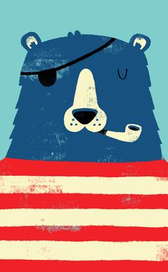Monster Riot: One Eyed Pete. pirate. bear. red, white and blue. pipe. eye patch. art. illustration.