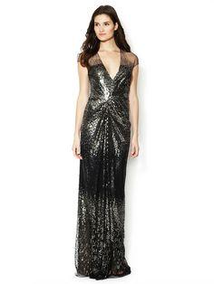 REEM ACRA - Silk V-Neck Ombre Beaded Gown