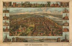 Harrisburg Pennsylvania c.1855 Aerial View by InterestingPhotos, $4.82