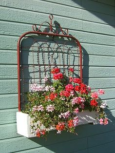 old gate made into a flower box.