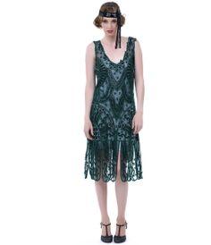 1920s Style Emerald Green Beaded Drop Waist Flapper Dress - Unique Vintage - Prom dresses, retro dresses, retro swimsuits.