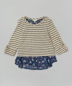 Look what I found on #zulily! Navy Stripe Floral Layered Top #zulilyfinds