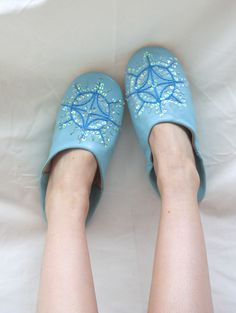 Ethically handmade Moroccan Babouche Sequin Slippers in Duck Egg Blue. We love love love Bohemia!