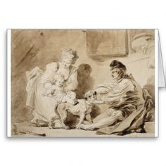First Lesson of Horse Riding by Jean-Honoré Fragonard, c. brush and ink drawing Le Siecle, Jean Honore Fragonard, Rainer Maria Rilke, Satyr, Paul Gauguin, France, National Museum, Custom Greeting Cards, Horseback Riding