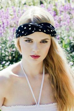 Image of Turban Headband Black and Cream Heart Headband Turband Twist Stretchy Headband- BLACK OR CREAM