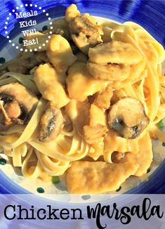 This Easy Chicken Marsala is one of my family's favorite dishes- and my kids request it almost every week! I love serving this chicken marsala as bite-sized pieces so I don't have to help the kids cut it up. Plus the smaller pieces do a better job of hugging the delicious sauce!  #EasyChickenMarsala #FoodKidsWillEat #Recipes #Dinners #MealsKidsWillEat via @sharonmomof6