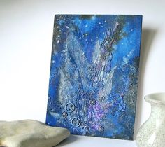 Mixed Media Dark Blue Art Canvas, Starlight Night, Mixed Media Altered Art, Crackle Painting, Home Decor, texture canvas,  leaf, night sky by Aqvatali on Etsy