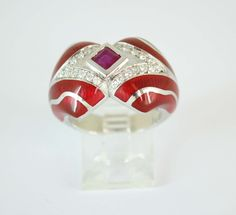 14K White Gold Ring with red enamel Diamonds - 0.30Ct Color - EF Clarity - VS Ruby - 0.39Ct Item #: DOR-041